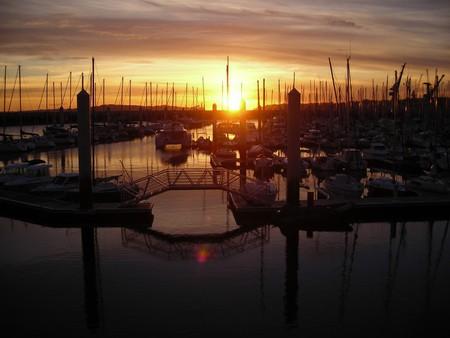 Sun setting on the port of Brest