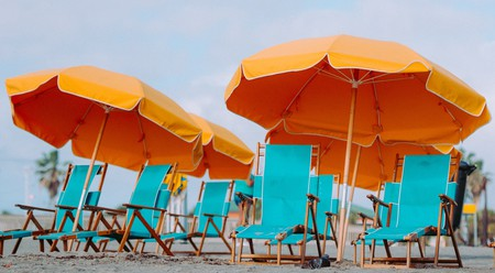 Empty deck chairs on the beach