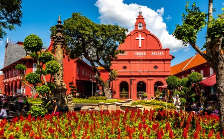 Iconic red buildings in Malacca's Dutch Square