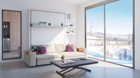 Living area, including Italian furniture company Clei's full length sofa design
