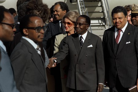 President Senghor arriving in the United States in 1980
