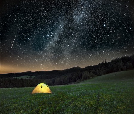 During the Perseid meteor shower, as many as 50 to 100 meteors can streak through the sky in an hour.