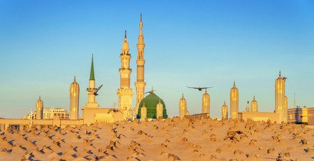 Masjid Nabawi mosque in Al Madinah, Kingdom of Saudi Arabia.