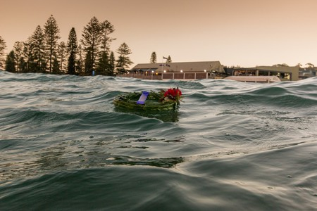 The Beach Club Collaroy from the water on Anzac Day