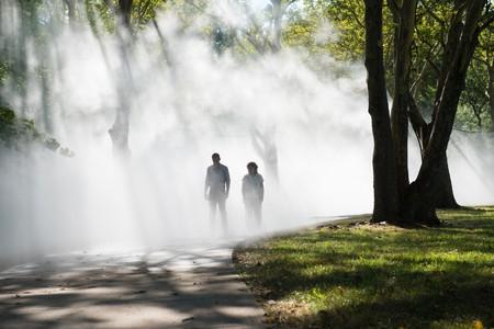 Fujiko Nakaya walking through her fog sculpture at the The Fens
