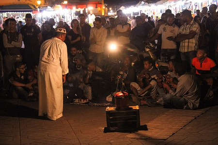 A storyteller in the square of Jemaa el-Fna