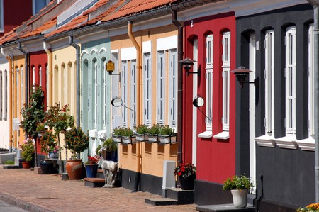 The colourful houses of Fyns Hoved, a bight in northeastern Fyn