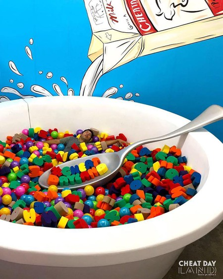 Would you relax in a giant bowl of fake cereal?