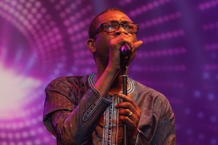 N'Dour performing at the Africa Celebrates Democracy concert in Tunisia