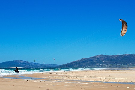 Kitesurfers in Tarifa, Spain