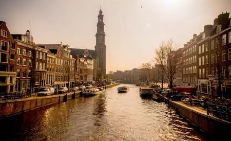 Prinsengracht canal and Westerkerk in Amsterdam