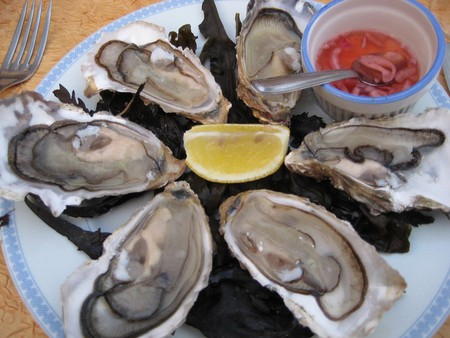 A plate of delicious fresh oysters