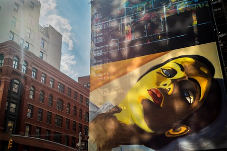 Installation view of David Salle's 'Swamp Music' overlooking Fifth Avenue