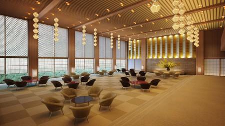 The Okura Prestige Tower's lobby will be a modern interpretation of the former Hotel Okura Tokyo lobby