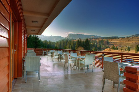 The view from Hotel Soa's restaurant in Durmitor National Park, Montenegro