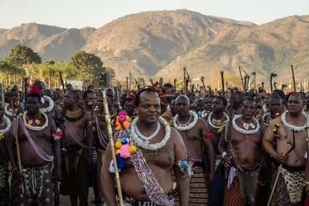 King Mswati III at the Umhlanga Reed Dance Festival 2018