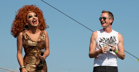 Bianca del Rio and Neil Patrick Harris present performers at Wigstock 2018.