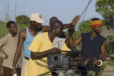 Film crew on a Nollywood movie set