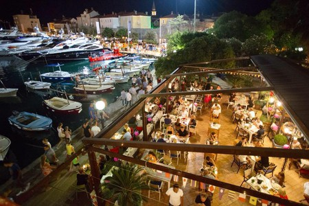 The stylish terrace of The Old Fisherman's Pub in Budva, Montenegro