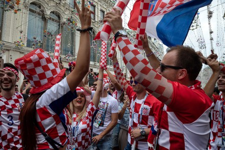 Croatian football fans cheer