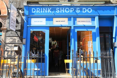 Drink, Shop, & Do, an eclectic all-day cafe and designer shop on the Caledonian Road near Kings Cross, in London.