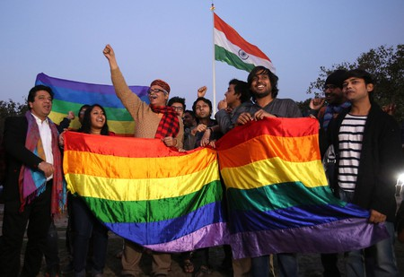 Indian activists of the LGBTQ community react after the Supreme Court's verdict