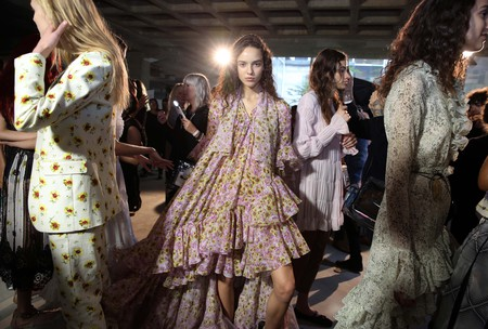 Backstage at the Giambattista Valli spring/summer 2018 show, Paris Fashion Week, 2 October 2017