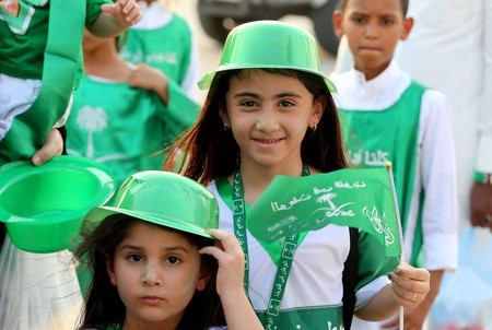 Mandatory Credit: Photo by AHMED YOSRI/EPA-EFE/REX/Shutterstock (9890413l) Saudi families attend the national day activities organized by the Entertainment Authority in Saudi Arabia in celebration of the 88th National Day celebrations in Riyadh, Saudi Arabia, 23 September 2018. Saudi National Day celebrations, Riyadh, Saudi Arabia - 23 Sep 2018