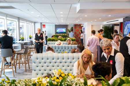 The Emirates suite at the US Open can hold up to 80 people