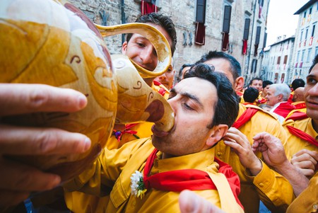 Participants at the Festa dei Ceri, Gubbio, Italy