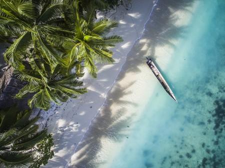 A canoe sits in the Raja Ampat islands, Gam Island