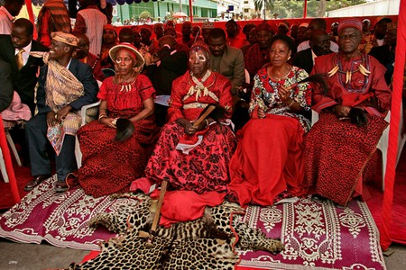 Members of the Teke royal family in traditional attire