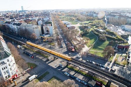 Bird's eye view of Görlitzer Park in Berlin-Kreuzberg