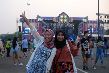 Two local girls enjoying their first day at WeTheFest in Jakarta