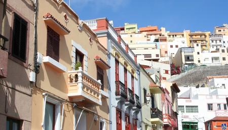 Colourful buildings in Old town La Gomera, San Sebastian, Spain.
