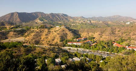 Highway 101 runs through the Cahuenga Pass and the Hollywood Hills in Los Angeles