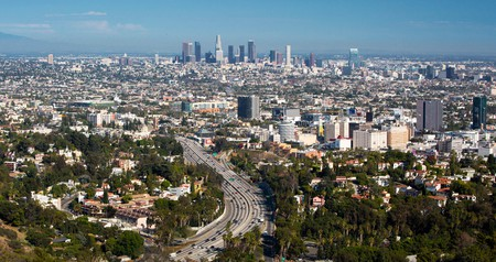 View over the Los Angeles skyline and the Hollywood Freeway