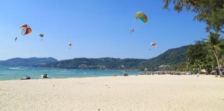 Patong Beach with parasailing, Phuket, Thailand.