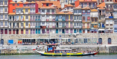 Multi-coloured houses on the banks of the Douro in the Ribeira area of Porto