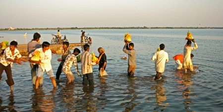 Rajasthani tribes performing Navaratri final day immersion, Rajkot, India.