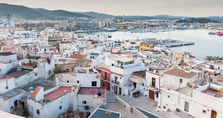View of ibiza harbour and old town, Spain.
