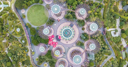 Aerial view of Singapore's Gardens by the Bay area