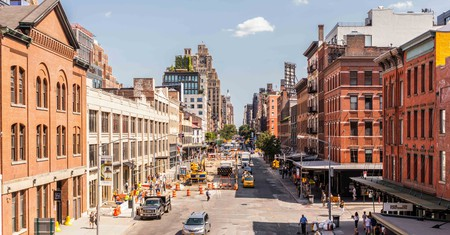 View from the High Line, Chelsea. The High Line (also known as High Line Park) was created on a former New York Central Railroad spur.