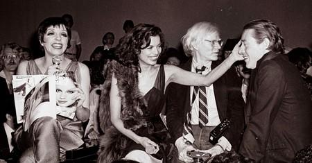 Liza Minnelli, Bianca Jagger, Andy Warhol, and Halston at Studio 54.