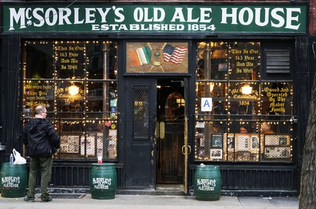 Exterior view of McSorley's Old Ale House, New York City.