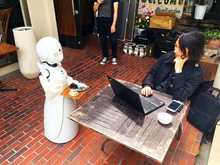 An OriHime Robot serves coffee   Courtesy of Orylab