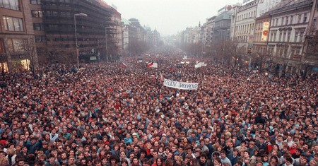 Approximately 200,000 people on Wenceslas Square protesting in Prague, Czechoslovakia, 1989
