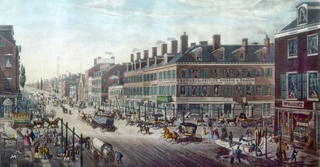 'Broadway, New York – corner of Canal Street to beyond Niblo's Garden.' Lithograph by Thomas Horner, 1836