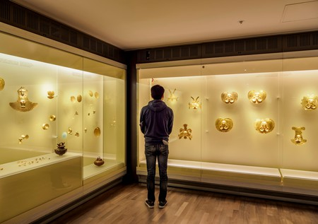 The interior of the Gold Museum in Bogotá lives up to its name