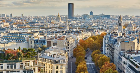 Aerial panoramic cityscape view of Paris, France with Montparnasse Tower
